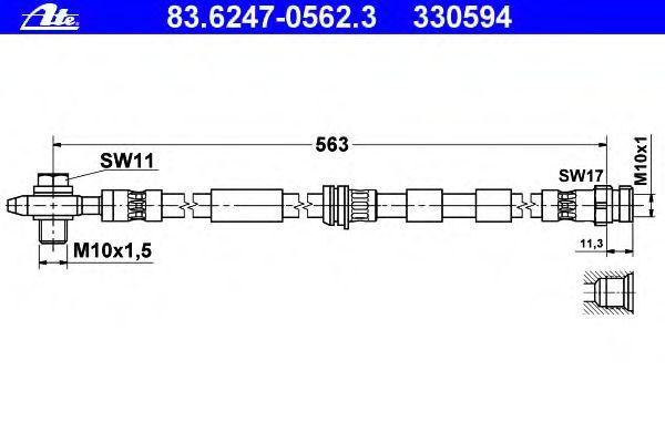 ATE BREMSSCHLAUCH VORNE   83.6247-0562.3  Audi VW