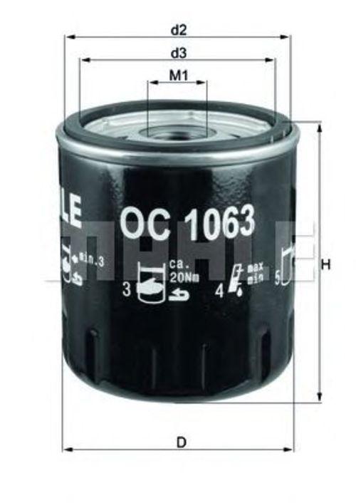 MAHLE / KNECHT ÖLFILTER OC 1063 FORD MONDEO III IV FOCUS C-MAX MAVERICK TRANSIT